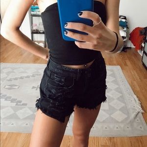 American Eagle black distressed denim shorts